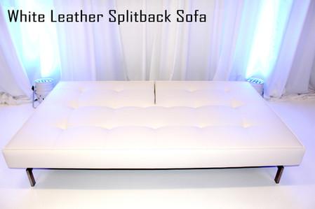 White Leather Splitback Sofa Down