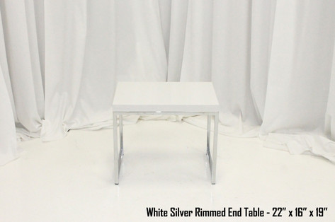White Silver Rimmed End Table