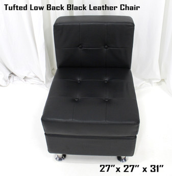Tufted Low Back Black Leather Chair
