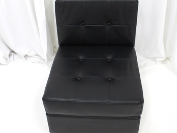 Black Leather Tufted Low Back Chair