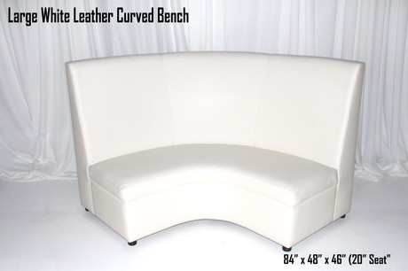 Large White Leather Curved Bench