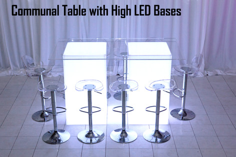 Communal Table with High LED Bases