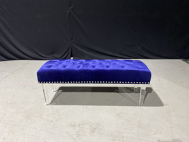 Blue Studded Tufted Bench