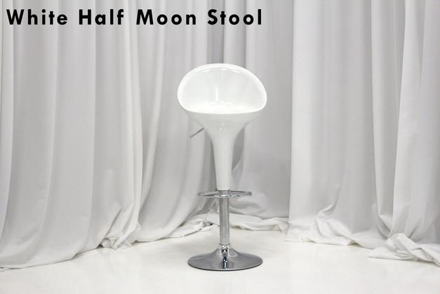 White Half Moon Bar Stool