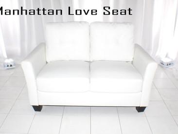 White Leather Manhattan Love Seat