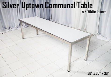 Silver Uptown Communal Table White Insert
