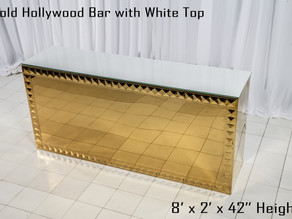Gold Hollywood Bar White Top - 8Ft.