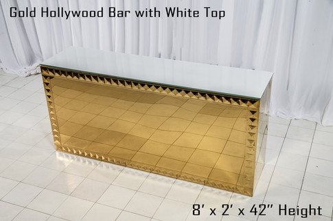 Gold Hollywood Bar White Top 8 Ft