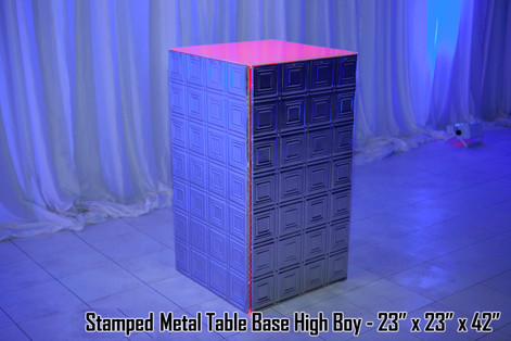 Stamped Metal Table Base High Boy