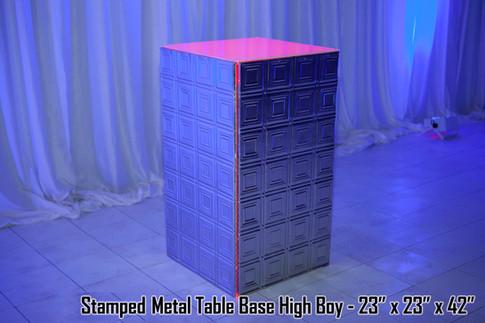 Stamped Metal Table Base High Boy