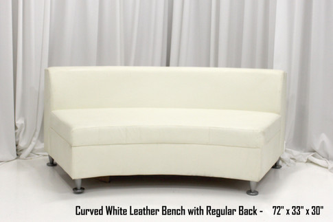 Curved White Leather Bench with Regular Back