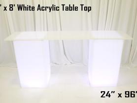 2' x 8' Acrylic Table Top - White