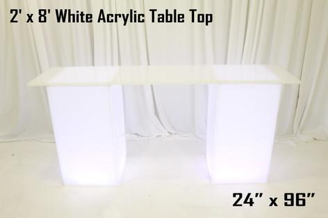 2 x 8 White Acrylic Table Top
