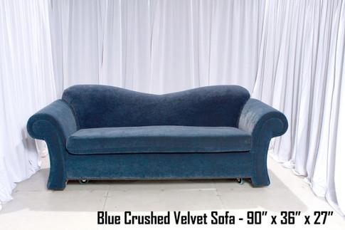 Blue Crushed Velvet Sofa