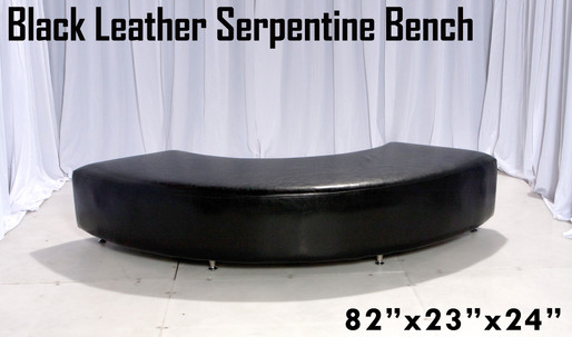 Black Leather Serpentine Bench