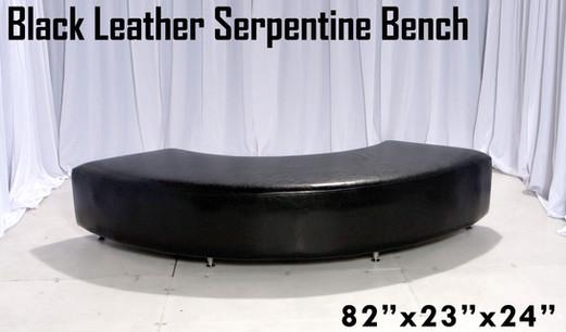 Black Leather Serpentine Bench