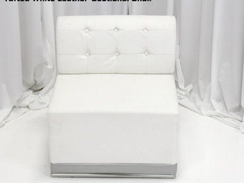 White Leather Tufted Sectional Chair