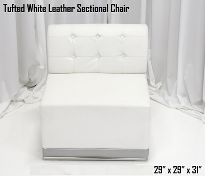 Tufted White Leather Sectional Chair