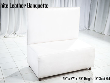 """White Leather Banquette 46"""" Length"""