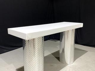 Diamond Plate & White Parsons Table