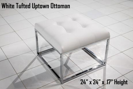 White Tufted Uptown Ottoman