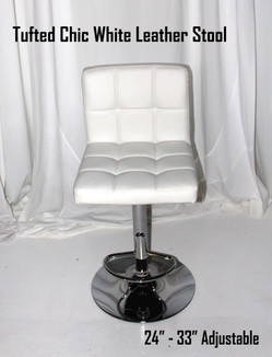 Tufted Chic White Leather Stool