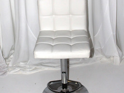 White Leather Tufted Chic Stool