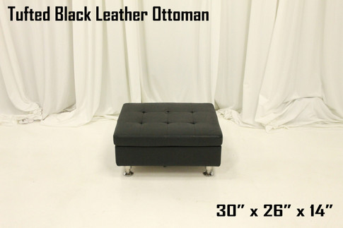 Tufted Black Leather Ottoman