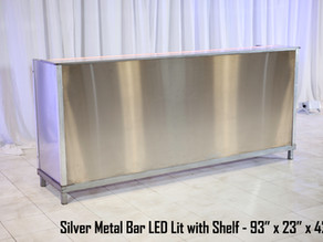 Silver Metal Bar LED Lit with Shelf