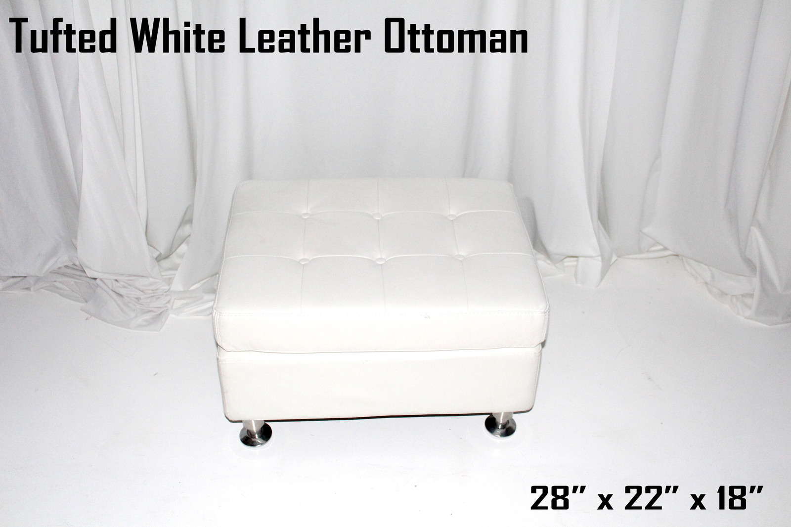 Tufted White Leather Ottoman