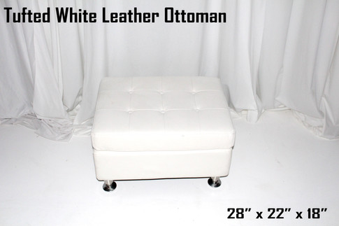 Tufted White Leather Ottoman