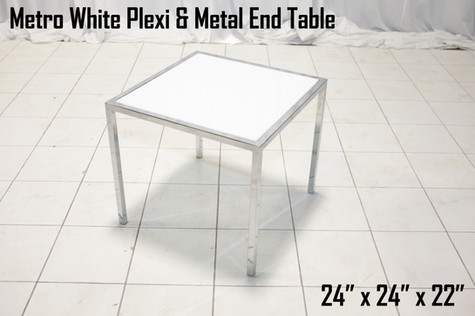 Metro White Plexi and Metal End Table