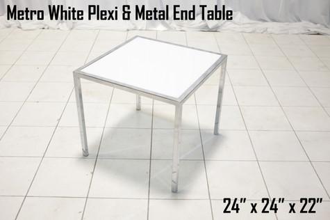 Metro White Plexi and Metal End Table