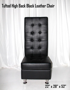 Tufted High Back Black Leather Chair