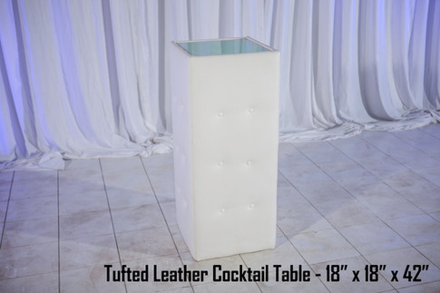 Tufted White Leather Cocktail Table
