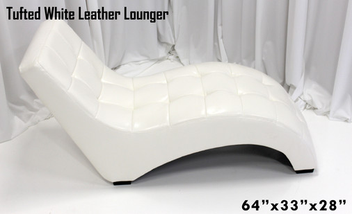 Tufted White Leather Lounger