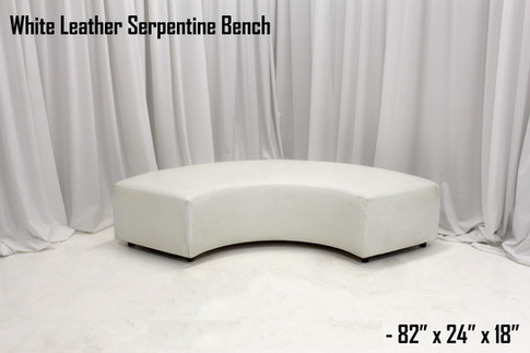 White Leather Serpentine Bench