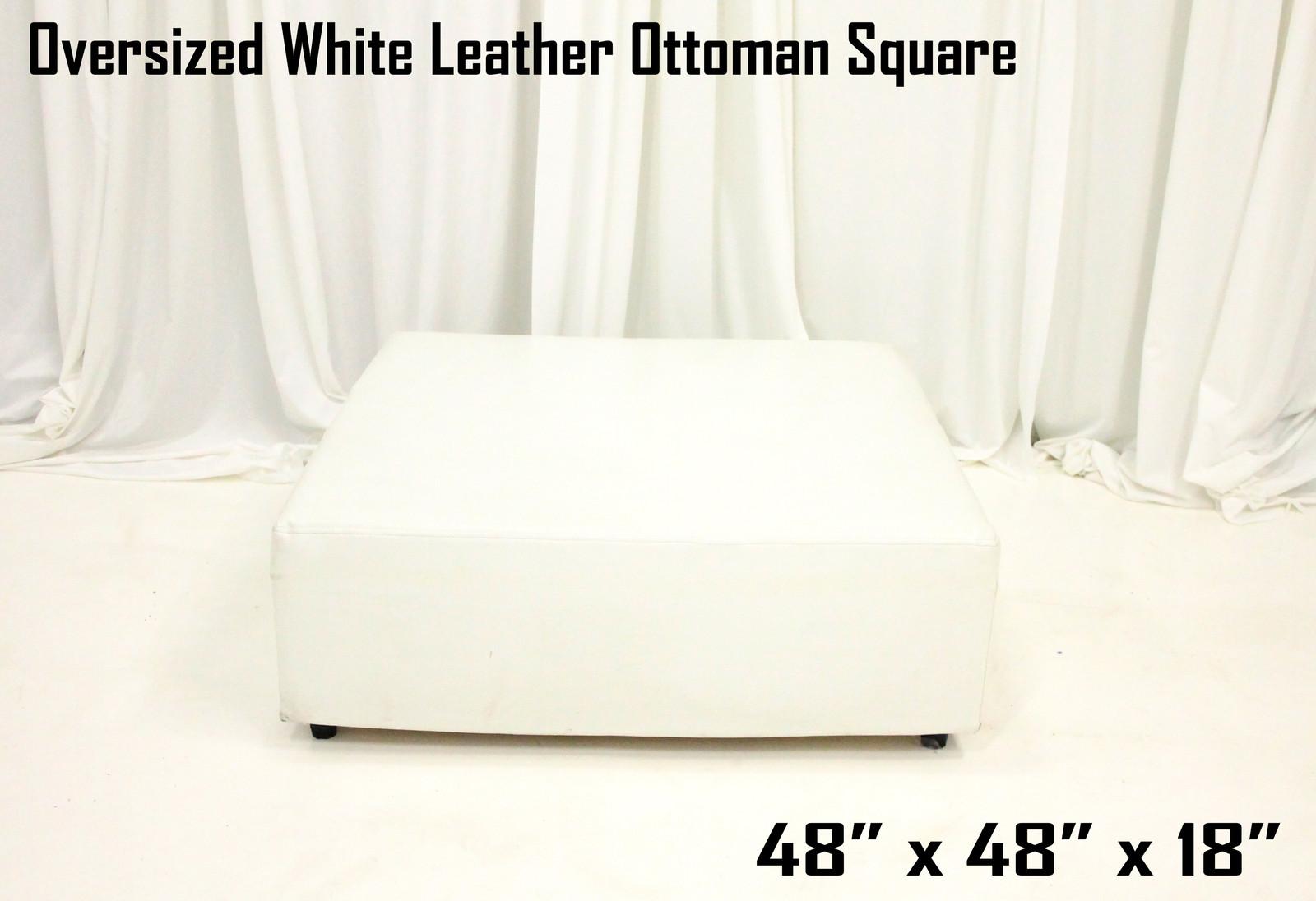 Oversized White Leather Ottoman Square