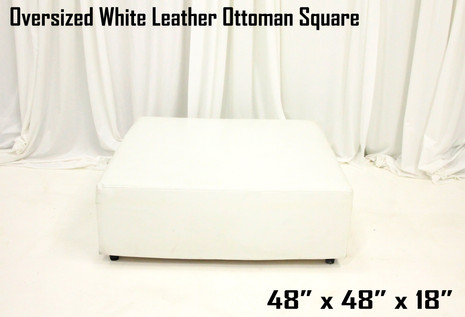 Oversized White Leather Ottoman Square