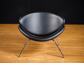 Black Leather Oyster Chair