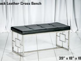 Black Leather Cross Bench