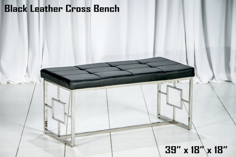Black Leather Cross Bench