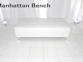 White Leather Manhattan Bench