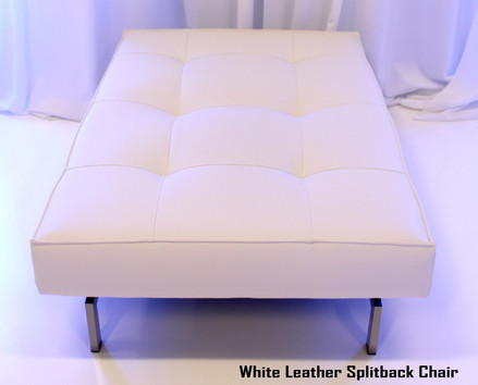 White Leather Splitback Chair Flat