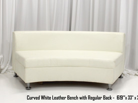 White Leather Curved Bench with Regular Back Smaller 69 Inch