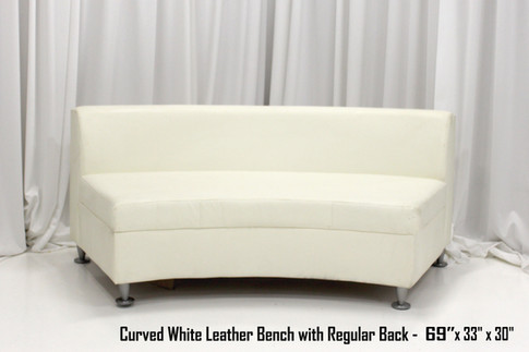 Curved White Leather Bench with Regular Back Smaller 69 Inch