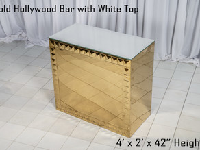 Gold Hollywood Bar White Top - 4Ft.