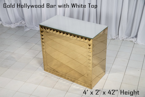Gold Hollywood Bar White Top 4Ft