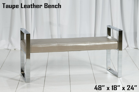 Taupe Leather Bench