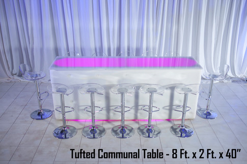 Tufted White Leather Communal Table
